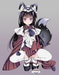 1girl animal_ears apron black_hair blush cum cum_in_clothes cum_on_clothes cum_through_clothes cup fox_ears fox_tail futanari grey_background long_hair looking_at_viewer maid maid_headdress original platform_clogs platform_footwear purple_eyes sandals simple_background solo squatting stockings tail teacup thighhighs transpot_nonoko white_legwear