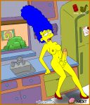 animated dickgirl futanari gif gijoepwns intersex jacking_off marge_simpson masturbation maude_flanders the_simpsons yellow_skin