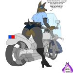 1_female 1_girl 2012 angry anthro anthro_canine anthro_doberman anthro_dog ass baton belt big_breasts boots breasts butt canine dialog dialogue doberman dog english_text female female_anthro female_anthro_doberman female_only fur gun handcuffs looking_back motorcycle pistol police ranged_weapon sideboob solo standing text weapon zp92