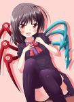 1girl ahoge asymmetrical_wings black_legwear blush fang female houjuu_nue rating solo stockings thighhighs touhou wings yakumo_nanahara
