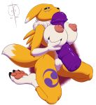 1_female 1_girl 2013 3_fingers 3_toes anime anthro anthro_canine anthro_fox barefoot big big_breasts black_nose blue_eyes breasts butt canine claws cute digimon dildo female female_anthro female_anthro_fox female_only female_renamon fox freckles_(artist) fur furry kneeling nipples nude pawpads paws pink_skin plain_background purple_background purple_fur raised_arm renamon sex_toy sexy shadow shiny solo squeeze squint titjob toei_animation toy vixen white_background white_fur yellow_fur yin_yang