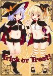 2girls :d :o alternate_costume asymmetrical_hair bandage bandages bat_wings blonde_hair bloomers blue_hair blush boots cape cover cover_page elbow_gloves english fang female flandre_scarlet flat_chest gloves hair hairband halloween hands_on_hips hat hat_ribbon headgear highres looking_at_viewer mary_janes multiple_girls navel open_mouth red_eyes remilia_scarlet ribbon sarashi shoes siblings side_ponytail silk sisters small_breasts smile spider spider_web stockings striped striped_legwear thighhighs touhou trick_or_treat underwear wings witch_hat yukiu_kon
