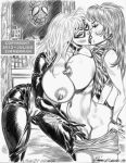 2013 black_cat julius_zimmerman_(artist) marvel mary_jane_watson monochrome spider-man spying tagme