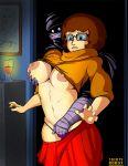 big_nipples breasts glasses hand_in_panties hand_on_breast scooby-doo skirt thong velma_dinkley