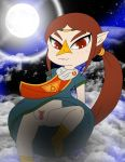 bluelimelight brown_hair medli pussy red_eyes smile solo the_legend_of_zelda the_wind_waker