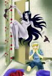 adventure_time animal_ears black_eyes black_hair bra breasts erection finn_the_human gray_skin hairless_pussy long_hair marceline monster nipples nude pale_skin pussy shower vampire