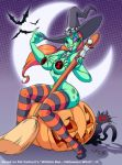 broom eltonpot eltonpot_(artist) green_skin halloween pumpkin witch witchie_boo