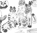 black_and_white breast_grab breasts cat clouded_leopard dreamworks feline female fingering genesisdream kung_fu_panda lesbian male master_tigress mei_ling monochrome multi_nipple nervous nipples panda penis po pussy_juice song_(character) surprise tiger