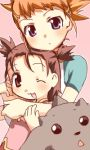 2girls blush brown_eyes brown_hair child digimon digimon_tamers female hug hug_from_behind kurot li_shaochung lopmon lowres makino_ruki multiple_girls orange_hair purple_eyes raglan_sleeves ri_shuichon short_twintails twintails violet_eyes wink