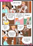 101_dalmatians anita_radcliffe babe bad-pingo big_breasts breasts cleavage comic couch disney dress inusen_(artist) milffur pongo purdy roger_radcliffe text