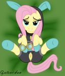 animal_ears bodysuit clothing equine eyewear female feral fluttershy fluttershy_(mlp) friendship_is_magic fur goggles gutovi-kun hair horse long_hair looking_at_viewer lying my_little_pony on_back open_mouth pegasus pink_hair pony pussy rabbit_ears seductive skinsuit smile solo spread_legs spreading stockings wings