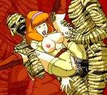 anal boots breasts clothed daphne_blake double_penetration hairband mummy pussy red_hair scooby-doo sex spread_legs tagme threesome torn_clothes vaginal