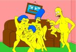 bart_simpson couch family homer_simpson incest kongen lisa_simpson marge_simpson patty_bouvier selma_bouvier the_simpsons yellow_skin