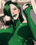 breasts butcha-u caressing_testicles censored erection eroquis green_eyes green_hair green_lipstick hair hair_over_one_eye hairjob large_breasts licking_lips lip_licking lipstick lowres madame_hydra makeup marvel naughty_face penis squeezing_testicles tongue tongue_out viper_(marvel)