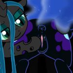 animated anus black_fur blue_hair butt buttercup_saiyan buttercup_saiyan_(artist) changeling cutie_mark duo equine female friendship_is_magic fur gif green_eyes green_hair grey_fur hair horse mittsies my_little_pony nightmare_moon pony pussy queen_chrysalis tiarawhy