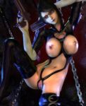 1girl 3d bayonetta bayonetta_(character) boots breasts chains erect_nipples female glasses gloves gun handgun huge_breasts latex midriff nipples nude pussy render rgbabes solo thighhighs uncensored weapon