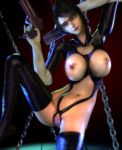 3d bayonetta bayonetta_(character) black_hair bondage breasts chains cleavage cleavage_cutout clitoris dungeon elbow_gloves erect_nipples female glasses gloves gradient gradient_background gun hair_bun handgun highres latex lipstick makeup navel nipples pistol pussy rgbabes shiny solo thighhighs uncensored weapon white_gloves
