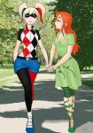 batman_(series) big_breasts breasts cleavage day daytime dc happy harley_quinn outdoor outdoors outside poison_ivy skottichan_(artist) smile walk walking yuri