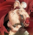 2boys abs adam's_apple arched_back bandage bandage_on_face bandages belt blush cape dual_persona ear_licking evil_grin evil_smile facial_hair fingerless_gloves gay gloves goatee grin handjob holster hood itto_(mentaiko) licking male male_focus multiple_boys muscle navel nipples open_mouth pants_down penis persona persona_3 persona_4:_the_ultimate_in_mayonaka_arena pubic_hair reach-around sanada_akihiko scar selfcest shiny shiny_skin shirtless short_hair smile standing sweat testicles veins veiny_penis white_hair yaoi