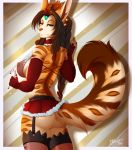 1girl 1girl anthro ass breasts clothed clothing feline furry garter looking_at_viewer mammal myloveless nipple_bulge skimpy smile standing