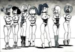 betty_rubble bondage family_guy futurama lois_griffin monochrome the_flintstones turanga_leela wilma_flintstone