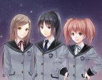 3_girls 3girls :d aqua_eyes arms_behind_back art badge black_hair blazer blue_eyes blush bow bowtie brown_eyes brown_hair buttons copyright_request fukahire_sanba grey_hair hand_on_hip hands_on_hip hands_on_hips happy long_hair looking_at_viewer multiple_girls neck_tie necktie night night_sky open_mouth orange_eyes ponytail red_hair school_uniform serious short_hair skirt sky smile star starry_sky