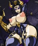 big_breasts black_hair blue_eyes breasts brendancorris digimon lilithmon looking_at_viewer nipples smile solo