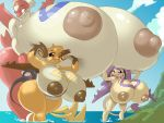 3girls big_breasts blush breast_hold breasts delcatty enecoro furry gigantic_breasts latias multiple_tails nipples pokemon rabid_(artist) raichu wide_hips