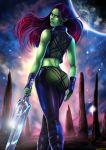 1girl ass gamora green_skin guardians_of_the_galaxy looking_back marvel purple_eyes shadman