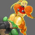 1boy 1girl ass blonde_hair blue_eyes boxing_gloves buttjob clothed_sex crossover erection erection_under_clothes grinding highres huge_ass keppok little_mac mandragoria metroid nintendo no_headwear no_helmet punch-out!! punch_out!! samus_aran super_smash_bros. varia_suit