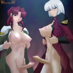 2girls barbed_cock barbed_penis barbs blue_eyes breasts censored cleavage flay_allster futanari genderswap gundam gundam_seed large_breasts military military_uniform multiple_girls nipples no_bra open_clothes open_shirt penis penis_ornament pointless_censoring ponytail red_hair scar shirt silver_hair smile spiked_penis spiky_cock uniform wancozow what yzak_joule