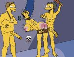 ass barney_gumble bent_over big_penis bondage breasts marge_simpson moe_szyslak nude penis pussy red_ass screaming smile spanking the_fear the_simpsons yellow_skin