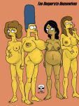big_breasts breasts cigarette manjula_nahasapeemapetilon marge_simpson maude_flanders nude pregnant pussy ruth_powers the_fear the_simpsons worried yellow_skin