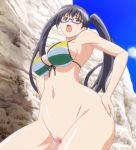 1boy 1girl animated animated_gif ass beach big_ass bikini close-up eroge!_h_mo_game_mo_kaihatsu_zanmai fellatio gif hentai hetero huge_ass kosaka_iori long_hair oral sex shiny stitched twintails