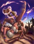 1girl 6+boys ankle_cuffs anklet barefoot battle blue_eyes bracelet capcom capoeira dark_skin dhalsim elena elena_(street_fighter) facial_mark feet female jewelry judgefang multiple_boys nail_polish navel neck_ring soles street_fighter street_fighter_iii toes tribal white_hair yellow_eyes