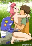 1boy 1girl :0 :d :o arm arms arms_around_neck art babe bare_arms bare_legs bare_shoulders barefoot bestiality blue_eyes blush breasts brock brown_hair closed_eyes clothed_male_nude_female clothed_sex croagunk dark_skin girl_on_top grass gym_leader hair_rings hat head_back hetero hugging interracial interspecies joy_(pokemon) legs long_hair looking_at_another looking_at_viewer medium_breasts moaning neck nintendo nude nurse nurse_cap nurse_joy open_mouth outside pants pink_hair pokemon pokemon_(anime) pokemon_(game) pokemon_dppt pokemon_frlg pokemon_rgby pokeporn pokepornlive sandwiched sex shirt short_hair short_sleeves sideboob sitting sitting_on_person smile spiked_hair straddle straddling takeshi_(pokemon)