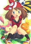 1girl ^_^ bandana bandanna beautifly bike_shorts blue_eyes blush brown_hair closed_eyes gloves hair haruka_(pokemon) hat headgear knees_on_chest knees_up open_mouth poke_ball pokemon pokemon_(game) pokemon_rse shirt shoes short_hair sitting skitty sleeveless sleeveless_shirt smile socks torchic uhyoko wing_collar
