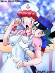 2_girls 2girls blush breast_grab character_name female from_behind hat multiple_girls nintendo nurse nurse_cap nurse_joy officer_jenny open_mouth pokemon pokemon_(anime) shy smile tagme yuri
