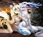 1girl 2016 anthro blue_eyes breasts canine duo eyelashes feline fire furry hair heterochromia kneel mammal nipples nude orivarri pink_nose tongue white_hair wide_hips