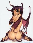 black_hair demon female po-ju tail trap wings