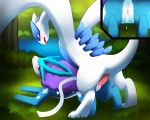 2012 after_sex all_fours blue_eyes blush canine cum cum_drip cum_in_pussy cum_inside darkmirage doggy_position dripping erected erection female feral forest from_behind grass hetero interspecies looking_at_viewer lugia male open_mouth orgasm outside penetration penis pokemon pussy red_eyes sex smile suicune tree vaginal vaginal_penetration water wings wood