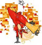 avian big_breasts blaziken blue_eyes breasts female fire happy kick nipples nude pixels plain_background pokemon pokã©mon pussy solo wdie_hips wolflance