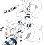 1_female 1_girl breasts female female_only looking_at_viewer pokemon pussy reshiram solo tongue tongue_out