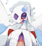 blue_eyes blush clitoris female froslass looking_at_viewer male monster pokemon pokephilia pokã©mon pussy sex straight tongue tongue_out type-mmm uncensored