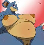 big_breasts breasts chubby female nidoqueen nintendo pokemon pokã©mon purple_eyes pussy slypon solo video_games