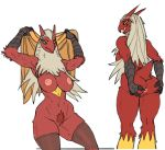 anthro anthrofied anus avian big_breasts blaziken breasts butt butt_grab female green_eyes looking_back muscles nintendo plain_background pokemon pokã©mon presenting presenting_hindquarters pubes pussy robotjoe sitting solo standing stockings towel video_games white_background wide_hips