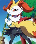 braixen broom butt canine digitigrade female fox lonbluewolf looking_at_viewer nintendo panties pokemon pokémon presenting presenting_hindquarters red_eyes solo sweat underwear video_games wide_hips