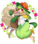 2girls ara ara_(sora-ageha) barefoot costume dark_skin doredia erufuun green_hair hat high_heels hug lilligant moemon multiple_girls open_mouth personification pokemon pokemon_(game) pokemon_black_and_white pokemon_bw shoes smile whimsicott
