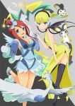 >_< 2_girls 2girls alternate_costume arched_back arm arms art back bare_legs bent_over big_breasts black_thighhighs blonde blonde_hair blue_dress blue_eyes blue_gloves blush breasts cable choker cleavage detached_sleeves dress elbow_gloves elesa emolga eyes_closed female flying fuuro_(pokemon) gloves gym_leader hair_ornament hand_holding happy headphones high_heels high_res highres holding_hands interlocked_fingers kamitsure_(pokemon) large_breasts leaning leaning_forward leg_lift leg_up legs looking_at_viewer magyo multiple_girls neck nintendo open-back_dress open_mouth outstretched_arm outstretched_hand pokemon pokemon_(anime) pokemon_(game) pokemon_black_and_white pokemon_bw red_hair redhead scarf shiny shiny_hair shiny_skin shoes short_hair side_ponytail side_slit skyla smile standing standing_on_one_leg swanna thighhighs two-tone_background yellow_dress yellow_high_heels yuri