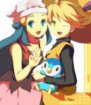 2girls beanie blonde_hair blue_eyes blue_hair crossover green_eyes hat hikari_(pokemon) multiple_girls muse_(rainforest) piplup platinum_berlitz pokemon pokemon_special straw_hat v wink yellow_(pokemon)